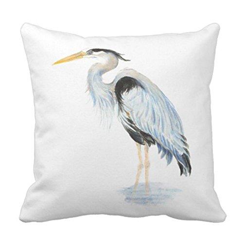 Case Heron Blue - Emvency Throw Pillow Cover Fishing Original Watercolor Great Blue Heron Wildlife Decorative Pillow Case Home Decor Square 20 x 20 Inch Pillowcase