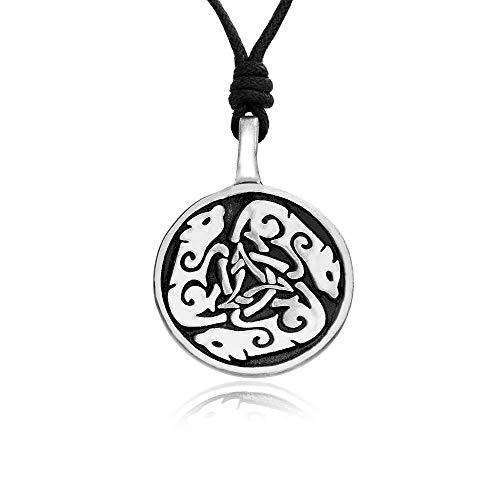 (Namaste Jewelers Triskelion Knot Celtic Wolf Pendant Necklace Pewter Jewelry)