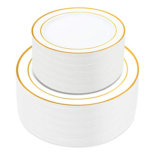 100 Pieces Gold Plastic Plates,HabiLife White Party Plates, Disposable Plastic Wedding Party Plates 50 Dinner Plates 10.2 inches and 50 Salad/Dessert Plates 7.5 inches … - White Disposable