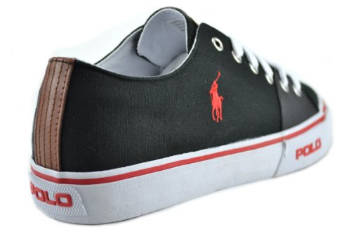 Polo Ralph Lauren Cantor Sneakers Basse Uomo In Canvas Nero / Rosso