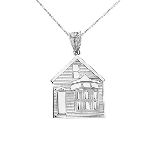 CaliRoseJewelry 925 Sterling Silver My House is a Home Charm Pendant Necklace, 16