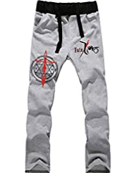 Windowpane? Thick Anime Jogging Trousers Drawstring Sweatpants with Pocket