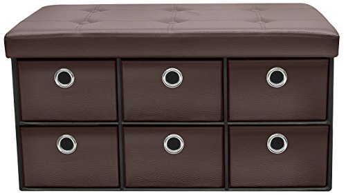 Sorbus Storage Ottoman Bench with 6 Drawers  Collapsible Folding Bench Chest with Cover  Perfect for Entryway, Bedroom, Cubby Drawer Footstool, Contemporary Faux Leather (Chocolate)