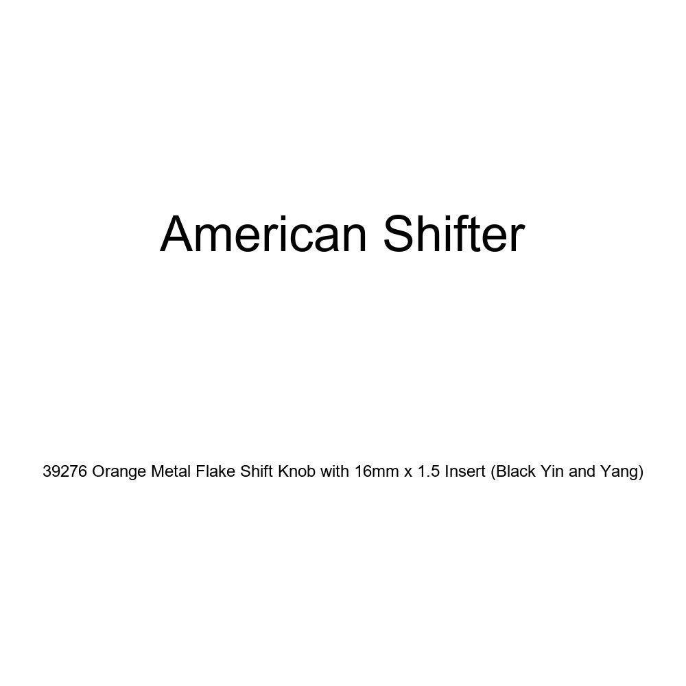 Black Yin and Yang American Shifter 39276 Orange Metal Flake Shift Knob with 16mm x 1.5 Insert