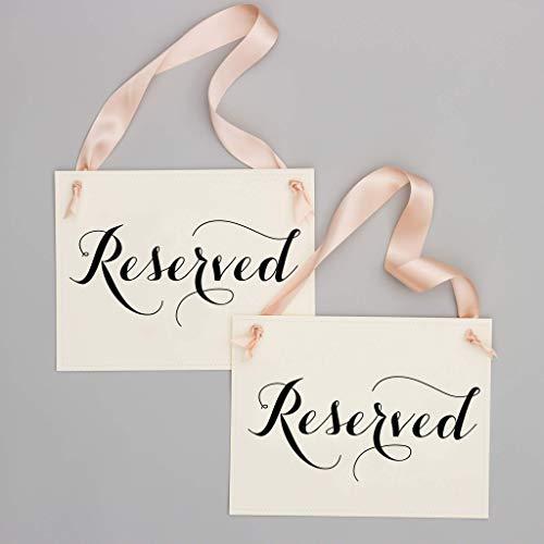 (Set of 2 Reserved Signs Wedding Chair Seat Banners for Ceremony Reception Wedding Bridal Party or Family | Ivory Linen Textured Cardstock with Black Ink & Pale Blush Pink Ribbon)