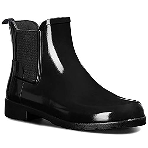 Hunter Womens Original Refined Chelsea Gloss Wellingtons Ankle Rain Boot - Black - 7