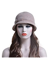 Lawliet Retro Solid Color Womens Winter 100% Wool Bow Bucket Cloche Hat A220