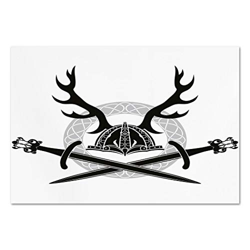 Large Wall Mural Sticker [ Antler Decor,Helmet with Antlers and Viking Swords Celtic Circle Medieval Barbarian Decorative,Black White Silver ] Self-adhesive Vinyl Wallpaper / Removable Modern Decorati