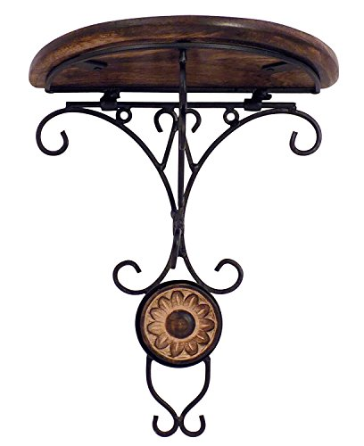 Wood Handmade Wall Mounted Wall Bracket, Wall Hanger For Clothes Flower Carvings and Telephone Stand, Decorative Item for Home & Office, 9 x 8 Inch by PMK