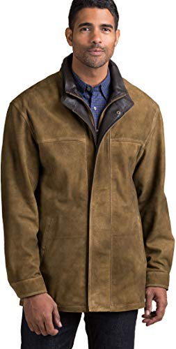 Overland Sheepskin Co Corbin Goatskin Suede Leather Coat with Removable Quilted Lining
