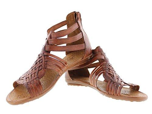 Cowboy Profesjonelle Kvinners Ankel Huaraches Meksikansk Gladiator Skinn Sandaler Hånd Vevet Chedron