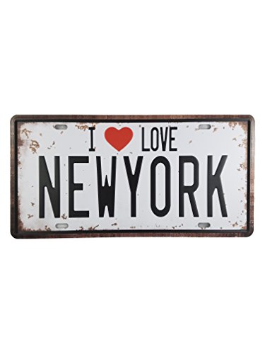 Ei I Love New York City Vintage Car Metal License Plate Tag Dcor Souvenir Wall Arts Home Decorations for Office Bedroom Living Room Wedding Party Modern Gifts (ILoveNYC)