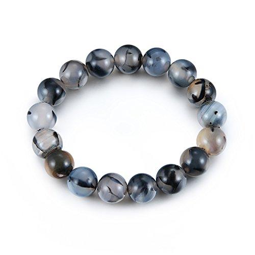Mens Womens Girls 12mm Personality Natural Stones Beaded Bracelets Energy Healing Gemstones Bracelets for Black Friday Gifts (Mens Strand Bracelet)