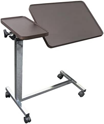 Eva Medical Deluxe Tiltable Overbed Table with One-touch Height Adjustment Feature