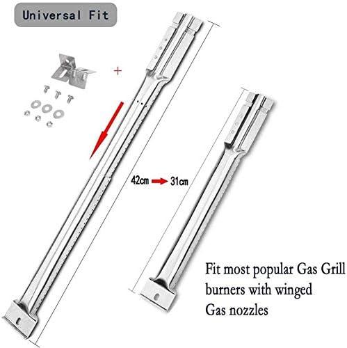 3 pièces de Remplacement de Gril à gaz de Barbecue réglable Universel/Extensible de 35 cm à 42 cm brûleurs de Tube en Acier Inoxydable/pour la Plupart des modèles de Gril à gaz de Barbecue