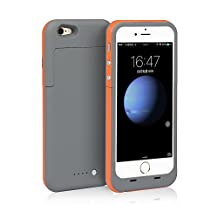 iPhone 6S Plus / 6 Plus (not for iPhone 6 / 6s) Battery Case Charger [Extra Bonus-Tempered Glass Screen Protector], i.VALUX 6800mAh External Backup Protective Battery Charger Case (Orange)