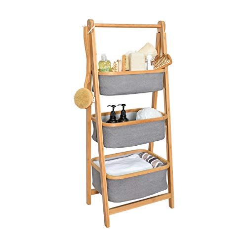 Bathroom Shelf with Laundry Hamper - Towel Shelf Laundry Shelf 3-Shelf Shelving Unit for Toy Storage Rack/Living Room Shelf/Entryway Storage