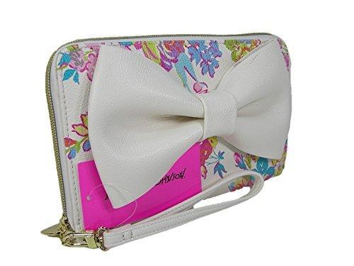 Betsey Johnson Travel Wallet Wristlet Handbag- White Floral