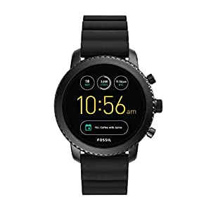 Fossil Q Men's Gen 3 Explorist Stainless Steel and Silicone Smartwatch, Color: Black (Model: FTW4005)