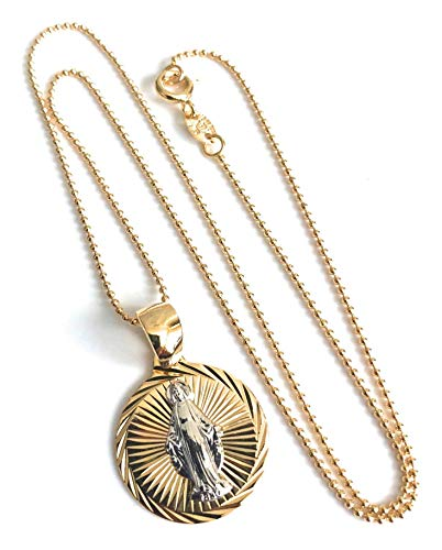 (Beautiful Miraculous Medal Coin Necklace 18K Gold Plated Ball 17 Inches Chain)
