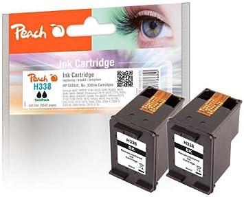 Peach Twin Pack Black, Compatible with HP C8765E, No. 338: Amazon.es: Oficina y papelería