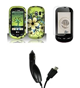 Bloutina LG Extravert (Verizon) Premium Combo Pack - Green Hibiscus Flowers and Black Butterfly Design Rubberized Shield...
