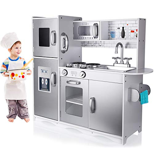 TUSY Kids Kitchen Playset, Play Kitchen for Toddlers, Kids Play Kitchen Set with Ice Maker and Removable Sink, Silver.