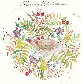 Pack of 6 Partridge Wreath Charity Christmas Cards Supports Multiple Charities: Amazon.es: Oficina y papelería