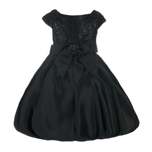 Cascade Sequin Bodice Formal Party Dress with Bubble Skirt-Black-12 -