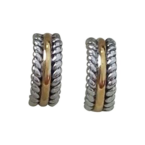 14k White Gold plated and Yellow Gold Plated Cable Twisted Earrings - David Yurman Yellow Earrings