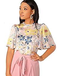 Romwe Blusa con Estampado Floral para Mujer, Cuello Redondo, Diseño de Mariposas