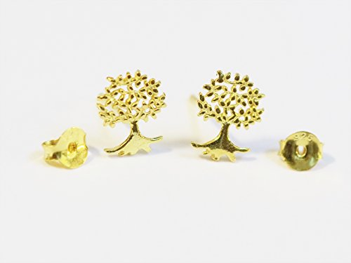 Over Silver Tree (18K gold plated over 925 sterling silver tree life stud earrings -For Teen girls, Women and Children)