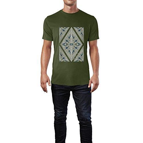 SINUS ART® Print Collage mit Leoparden Muster Herren T-Shirts in Armee Grün Fun Shirt mit tollen Aufdruck