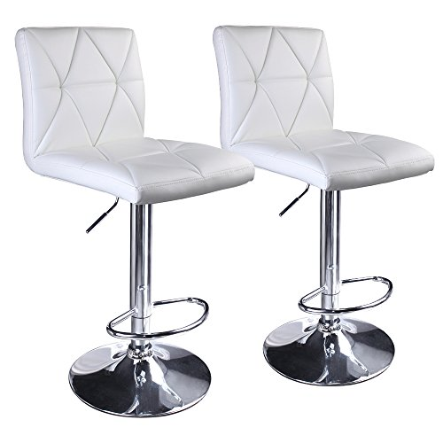 Leader Accessories Bar Stool,White Hydraulic Modern Diagonal Line Adjustable Bar Stools With Back,Set of 2 (Leather White Set Modern)