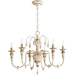 "Quorum 6316-6-70 Salento 25"" 6-Light Chandelier in Persian White"