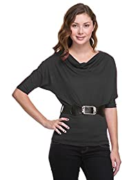 2LUV Plus Women's Hacci Cowl Neck Belted 3/4 Sleeve Top