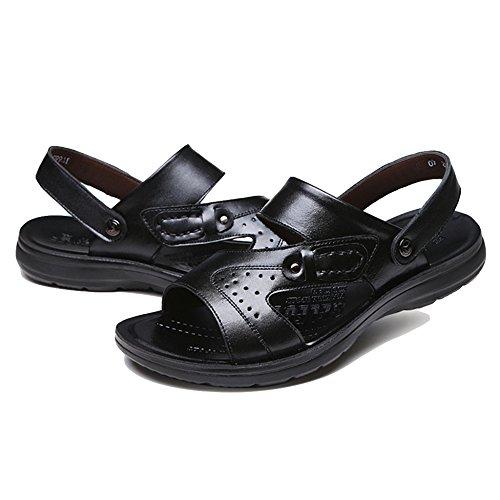 Dimensioni Pelle Toe Da In Open Piscina Black Scarpette Spiaggia Scarpe Uomo Morbida Da On Pantofole Sandali Da Di Slip Infradito Estate Grandi FwRnCqqt5