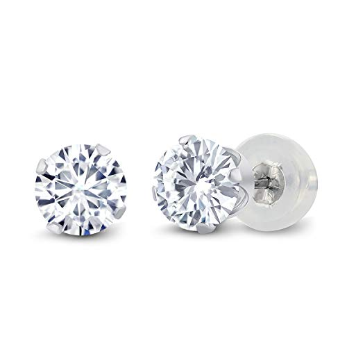 10K White Gold Stud Earrings Forever Classic Round 1.00ct (DEW) Created Moissanite by Charles & Colvard