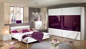 Schlafzimmer Bett 180 x 200 cm alpinweiss/ Glas brombeer Woody 33 ...