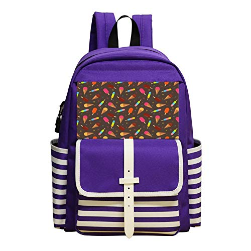 Colorful Ice Cream Children Backpack For School Travel Backpack Of Purple