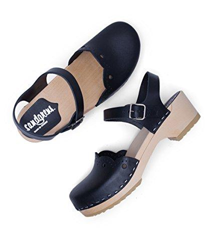 Women Black EU Sandgrens Clog Low for Sandals 37 Swedish Wooden Milan Heel ppwUz01q