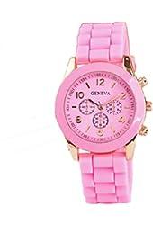 Geneva Pink Silicone Wristband Quartz Watch