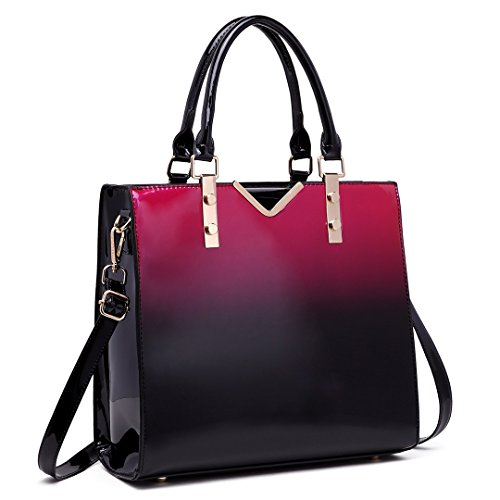 Miss Lulu Women Handbags High Quality Faux Patent Leather Top Handle Tote Bags 1734-1 Purple