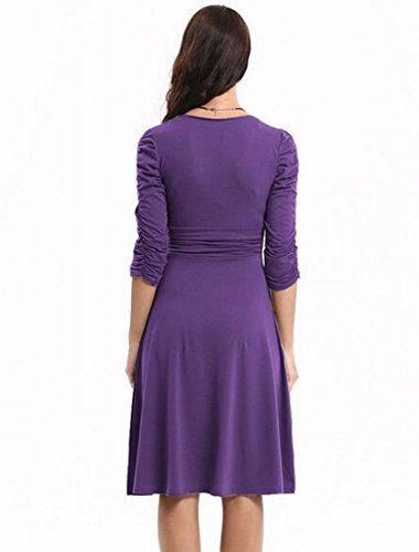 Jaycargogo À Pois Vintage Femmes Impression Longue Robe De Cocktail Swing Formel Manches Violet