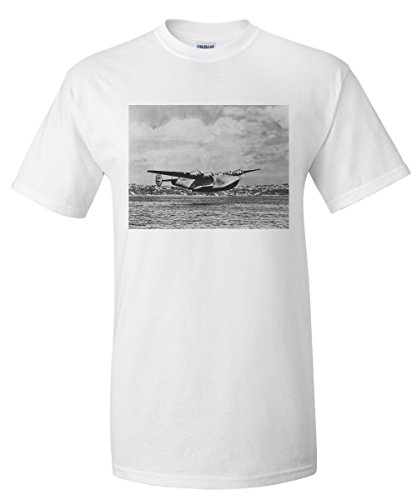Boeing 314 China Clipper Over Water Airplane Photograph (White T-Shirt XX-Large) (Boeing China Clipper)