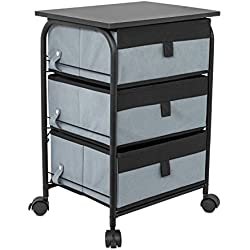 Internet's Best 3 Drawer Storage Rolling Cart | 3 Removable Fabric Shelves | Heavy Duty Side End Table & Night Stand | Organizer | Grey