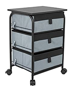 best 3 drawer storage rolling cart 3 removable fabric shelves heavy duty side end table u0026 night stand organizer grey