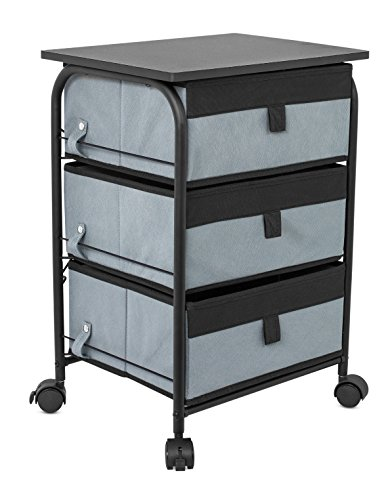 Internet's Best 3 Drawer Storage Rolling Cart | 3 Removable Fabric Shelves | Heavy Duty Side End Table & Night Stand | Organizer | Grey - 2 Shelf Metal Table