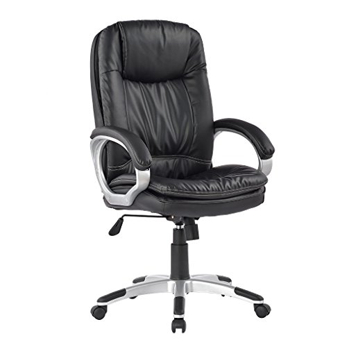 LANGRIA Modern High-Back Leather Executive Chair Home Office Use, Ergonomic Design,