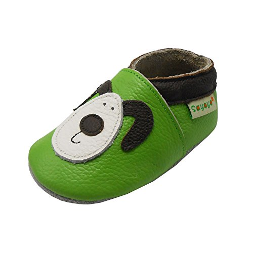 Sayoyo Baby Shoes Soft Sole Leather Infant Toddler Prewalker Shoes with Puppy (Green,12-18 Months)